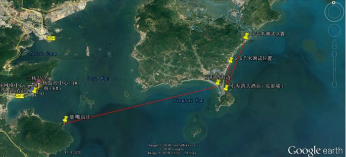 谷歌地图上发射端和接受端距离
