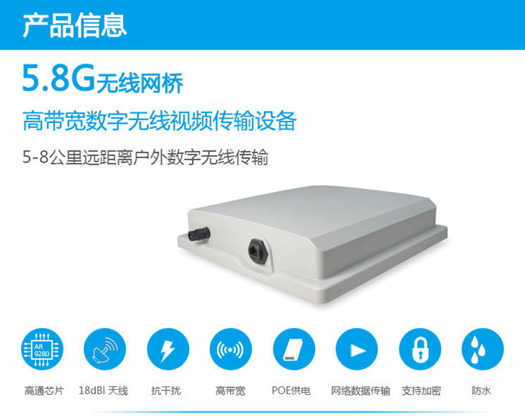 5.8G大功率无线网桥ST58T8G系列